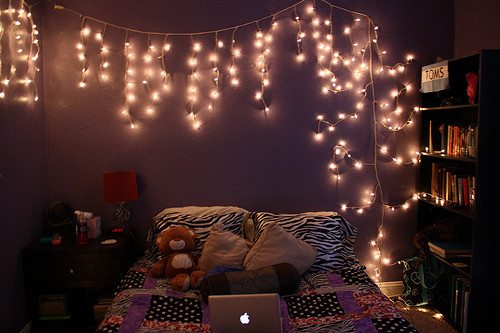 Tumblr Slaapkamer : Bedroom with Christmas Lights